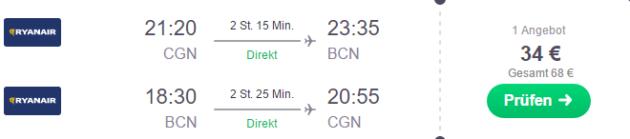 Köln nach Barcelona