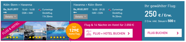 Köln nach Havana