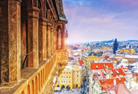 Prag Blick vom Schloss im Winter