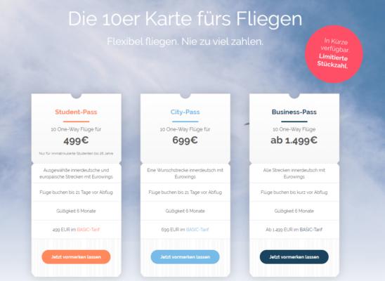 Eurowings Zehnerkarte