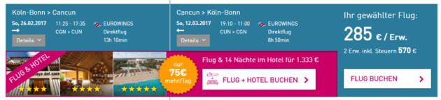 Flug Cancun Deal