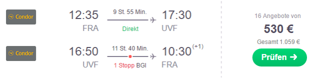 Flug Frankfurt St. Lucia