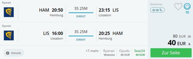 Hamburg nach Lissabon