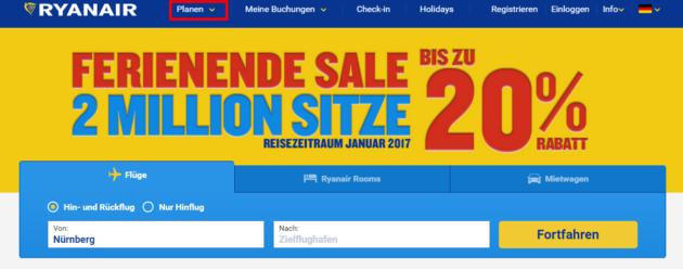 Ryanair Preissuche 1