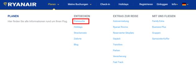 Ryanair Preissuche 2