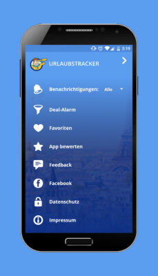 Reise App Menü