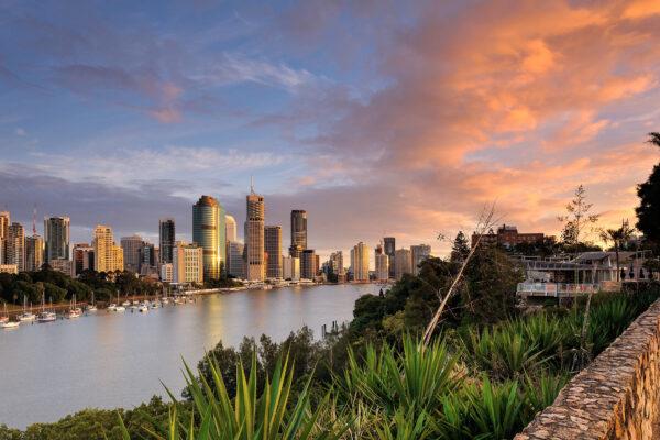 Australien Brisbane Sonnenuntergang Skyline
