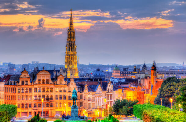 Belgien Brüssel Gebäude Nacht