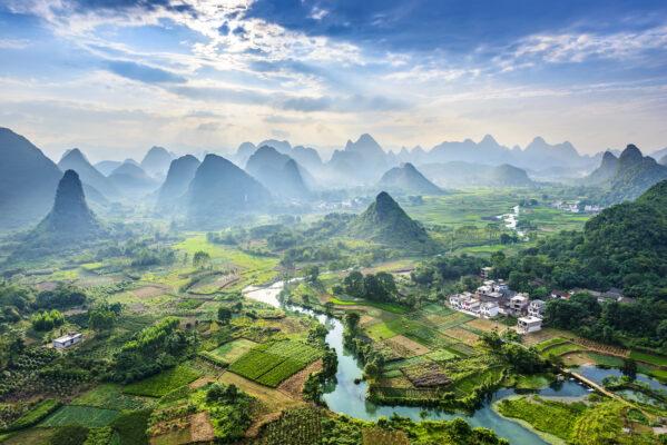 China Landschaft Berge Fluss