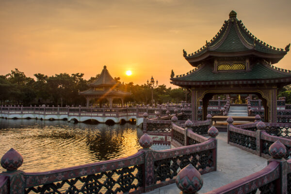 China Peking Sonnenuntergang Fluss