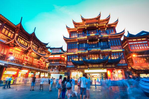 China Shanghai Gebäude Menschen
