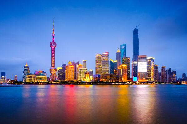 China Shanghai Skyline Lichter Nacht