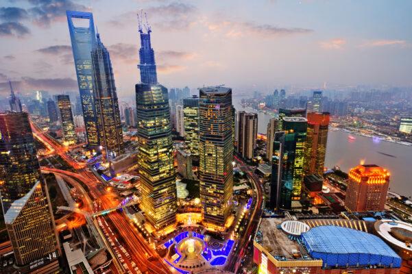 China Shanghai von oben Stadt
