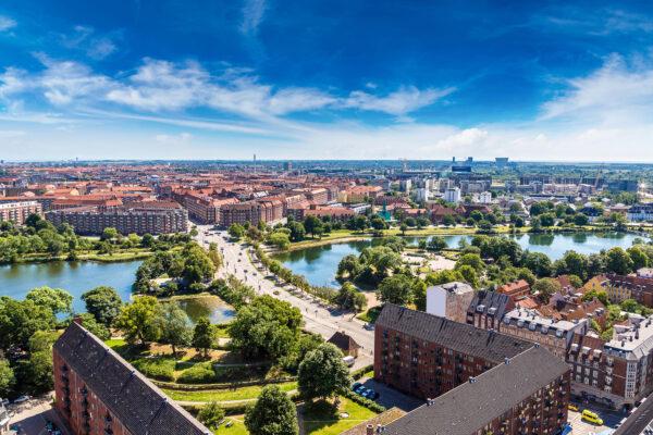 Dänemark Kopenhagen Stadt von oben Ausblick