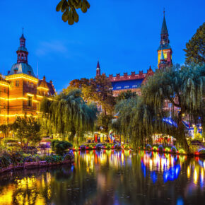 Dänemark Kopenhagen Nachts Lichter See