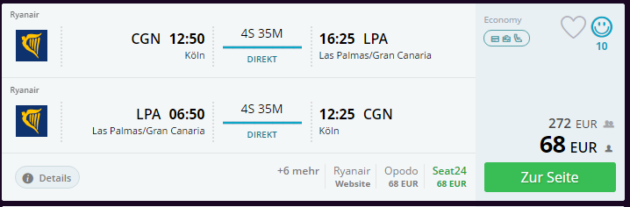 Köln nach Gran Canaria