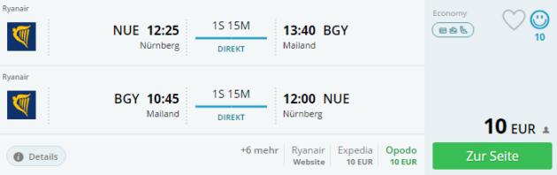 Nürnberg to Mailand
