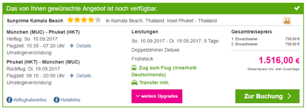 9 Tage Thailand Phuket Deal