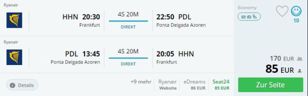 Flug Frankfurt Azoren