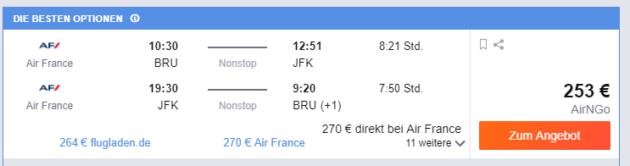 Brüssel nach New York