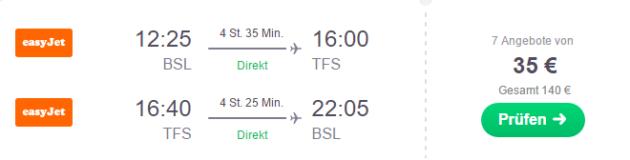 Flug Basel Teneriffa