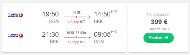 Flug nach Bangkok