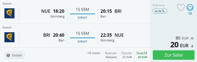 Flug Nürnberg Bari