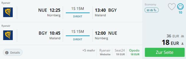 Flug Nürnberg Mailand