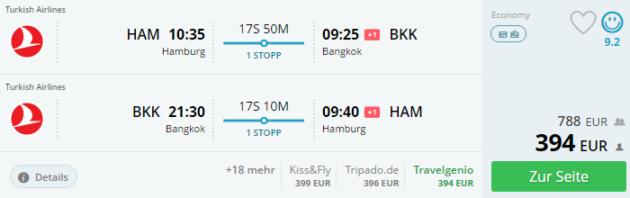 Hamburg nach Bangkok