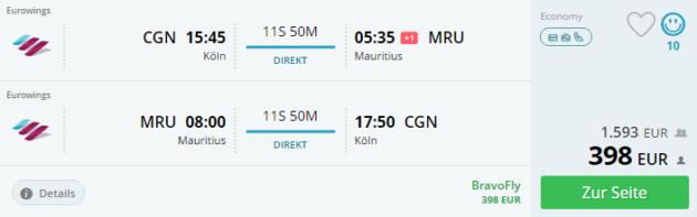 Köln nach Mauritius