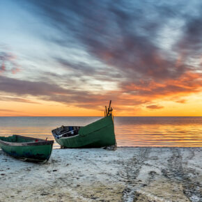 Ostsee Boote Sonnenuntergang