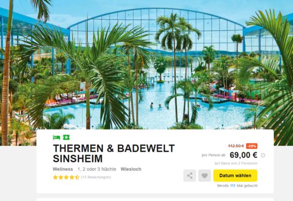 2 tage badewelt sinsheim mit top 4 hotel inkl fr hst ck freier eintritt nur 69. Black Bedroom Furniture Sets. Home Design Ideas