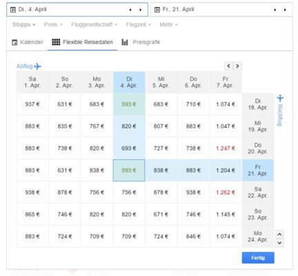 Google Flights flexible Reisedaten