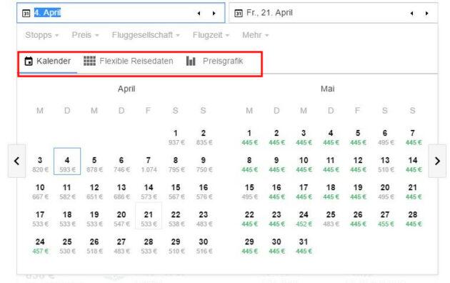 Google Flights Kalender