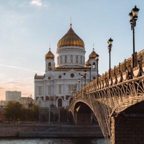 Russland Moskau Brücke Kathedrale