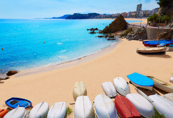 Spanien Lloret de Mar Strand Boote