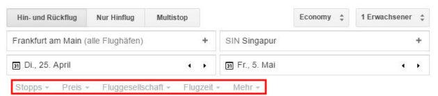 Google Flights Auswahlkriterien