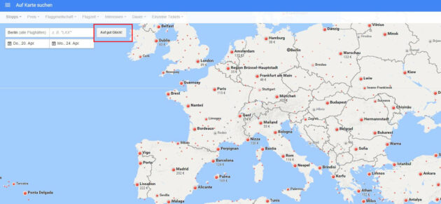 Google Flights auf gut Glück