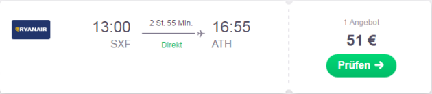Flug nach Athen