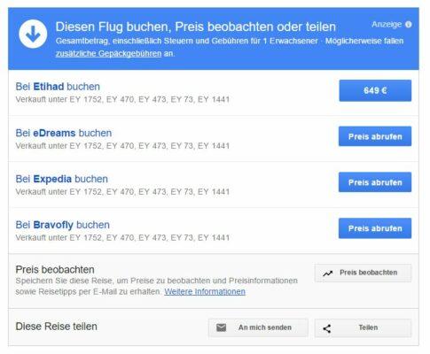 Google Flights Flug buchen