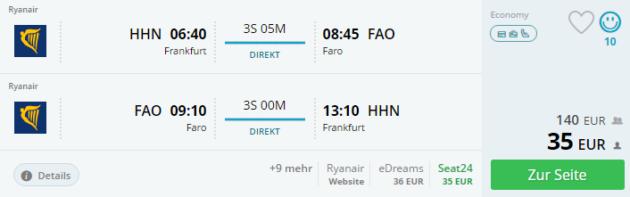 Flug Hahn Faro