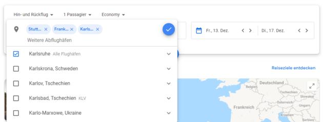 Google Flights Abflughäfen