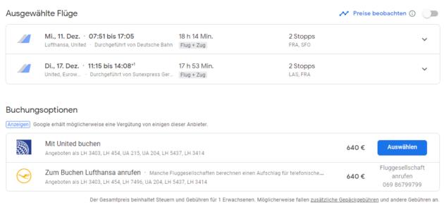 Google Flights Anbieter Auswahl