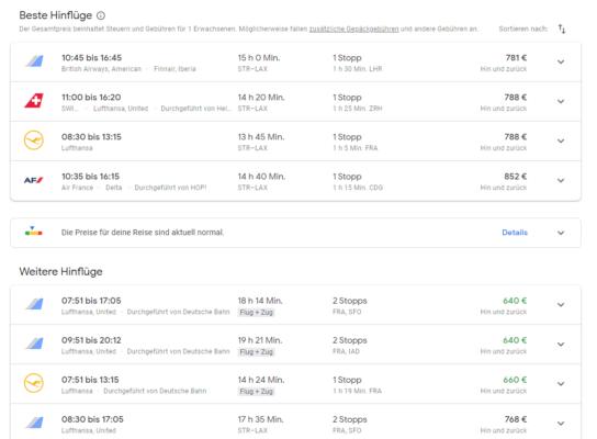 Google Flights Flugauswahl