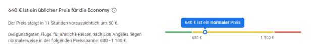 Google Flights Preisentwicklung