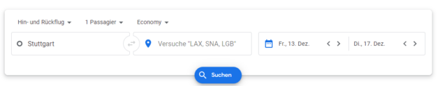 Google Flights Suchmaske