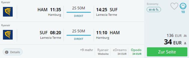 Hamburg nach Italien