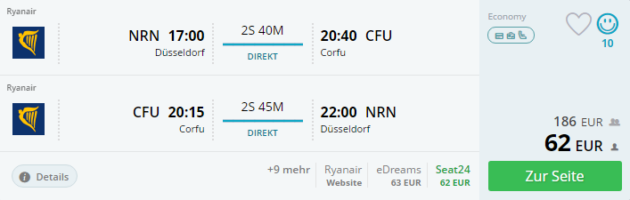 Korfu Flug Deal
