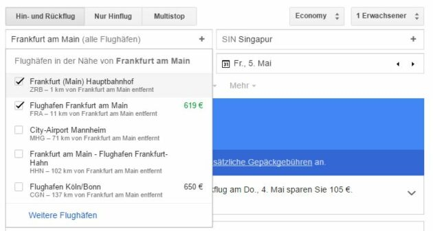 Google Flights mehrere Abflughäfen