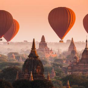 Myanmar Bagan Tempel Heißluftballons